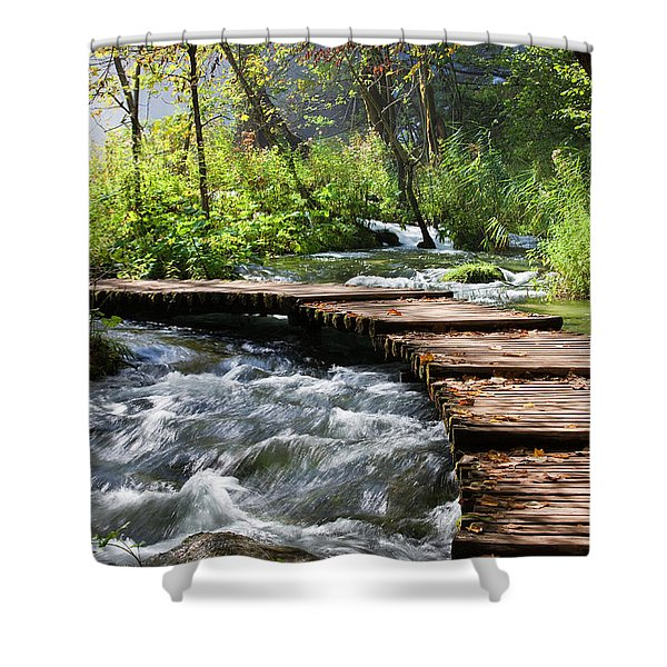 Forest Stream Scenery Shower Curtain