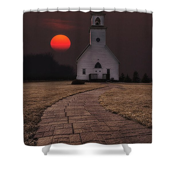 Fort Belmont Sunset Shower Curtain
