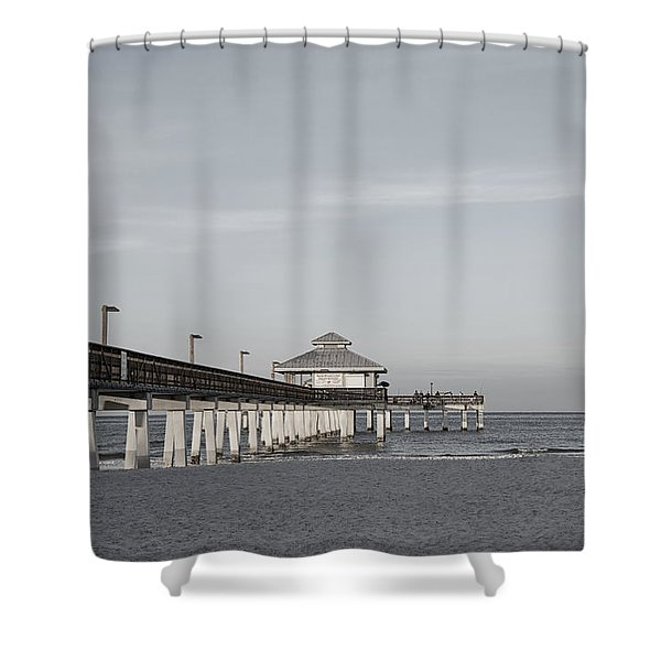Fort Myers Beach Pier - Black And White Shower Curtain