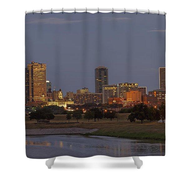 Fort Worth Skyline Golden Hour Shower Curtain