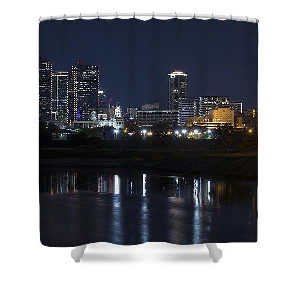 Fort Worth Skyline Super Moon Shower Curtain