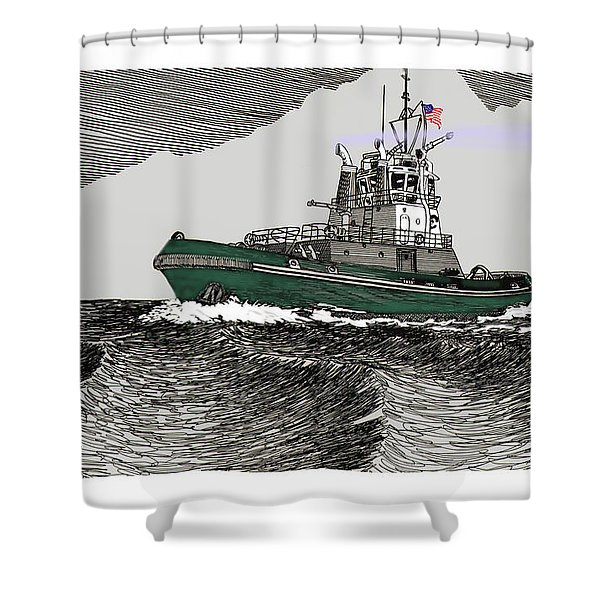 Foss Tractor Tugboat Shower Curtain