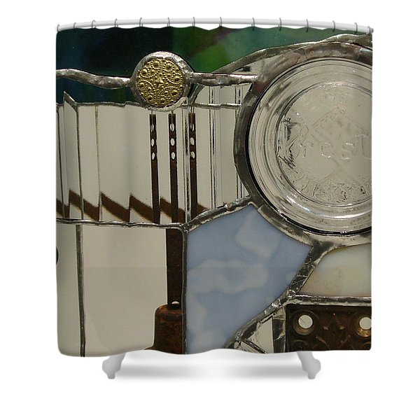 Shower Curtain featuring the glass art Found Objects II by Karin Thue