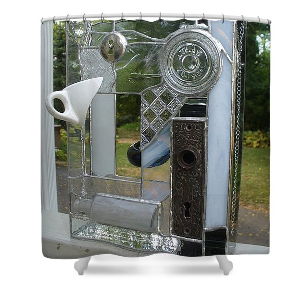 Shower Curtain featuring the glass art Found Objects  by Karin Thue
