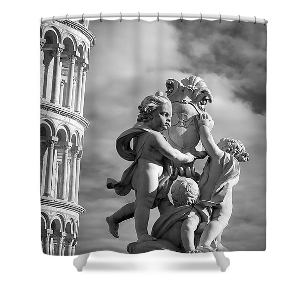 Fountain With Angels Shower Curtain