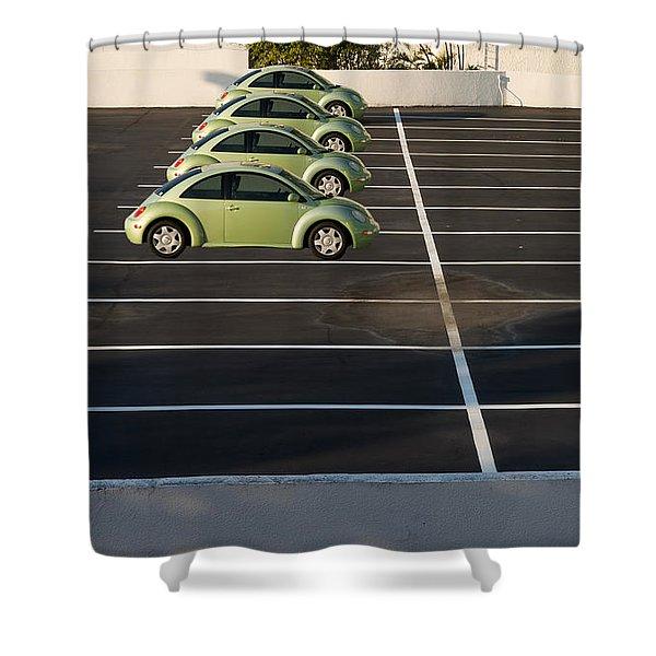 Four Green Beetles Shower Curtain