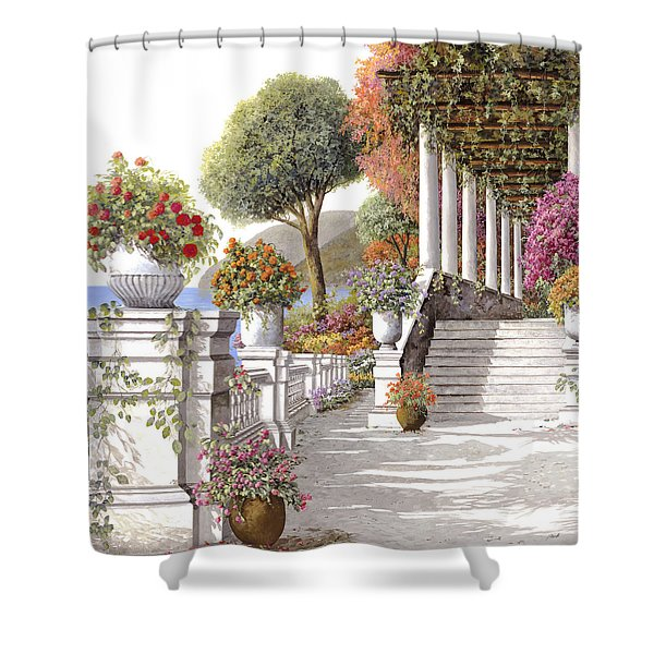 four seasons-summer on lake Como Shower Curtain