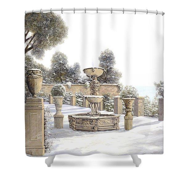 four seasons-winter on lake Como Shower Curtain