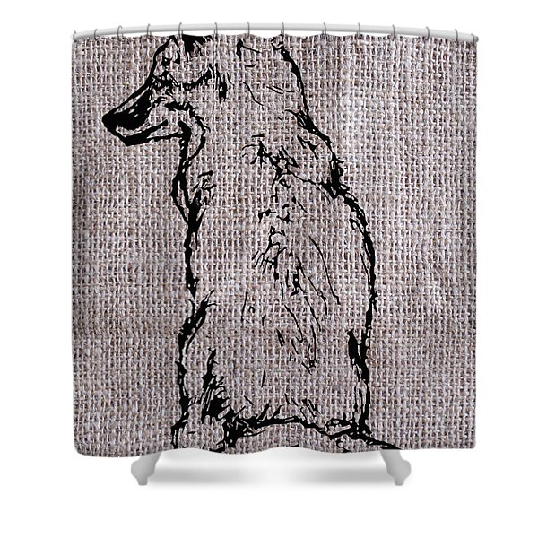 Fox On Burlap  Shower Curtain