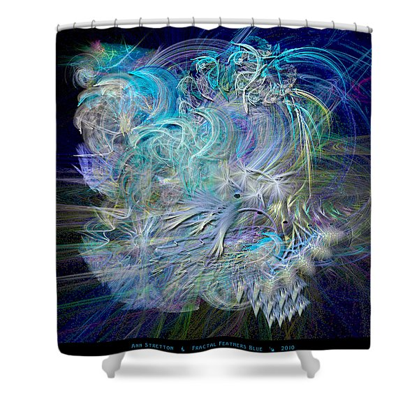 Fractal Feathers Blue Shower Curtain