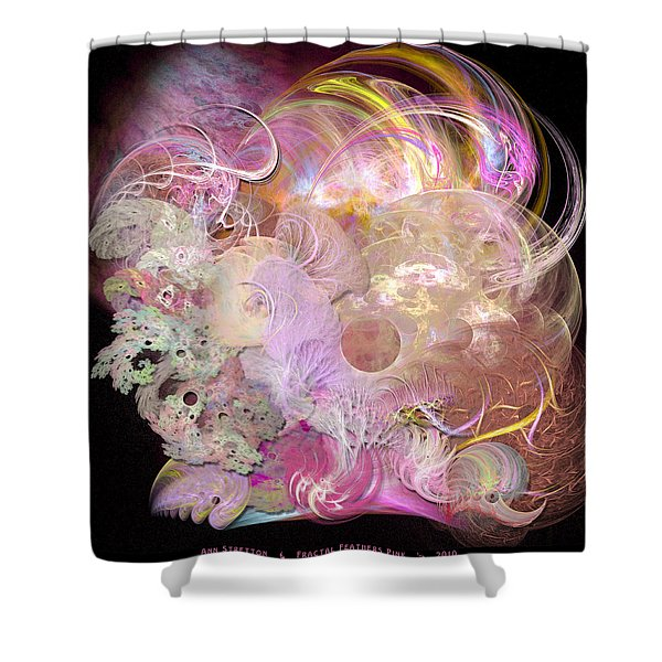 Fractal Feathers Pink Shower Curtain