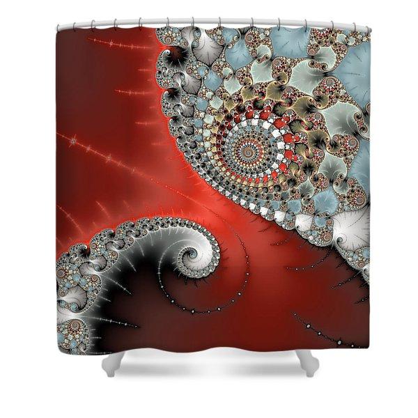 Fractal Spiral Art Red Grey And Light Blue Shower Curtain