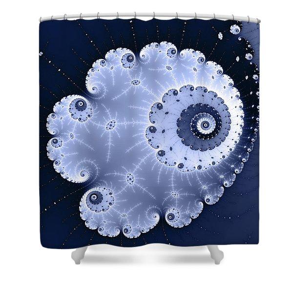 Fractal Spiral Light And Dark Blue Colors Shower Curtain