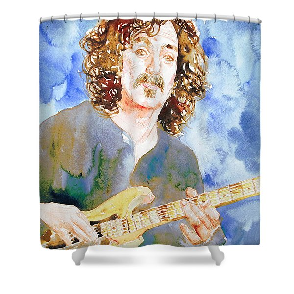Frank Zappa Playing The Guitar Watercolor Portrait Shower Curtain