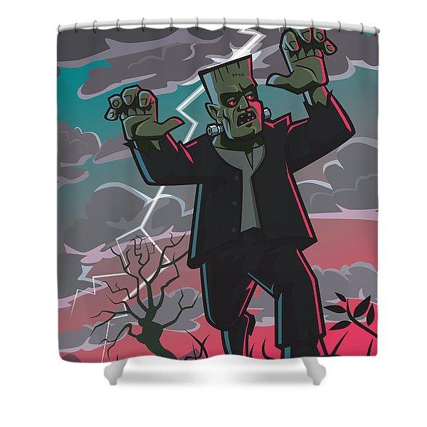 Frankenstein Creature In Storm  Shower Curtain