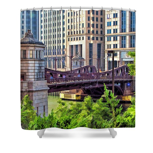 Chicago Franklin Street Bridge Shower Curtain