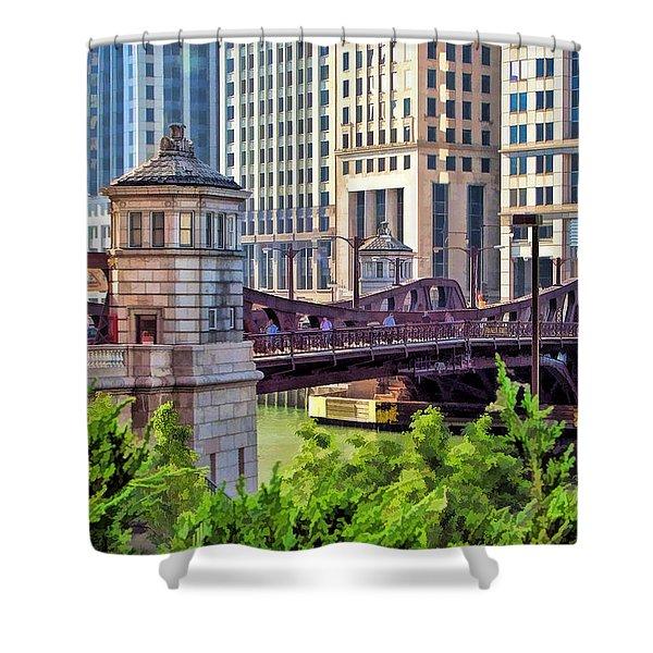 Chicago Franklin Street Bridge Shower Curtain