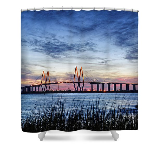 Fred Hartman Bridge At Twilight Hour Shower Curtain