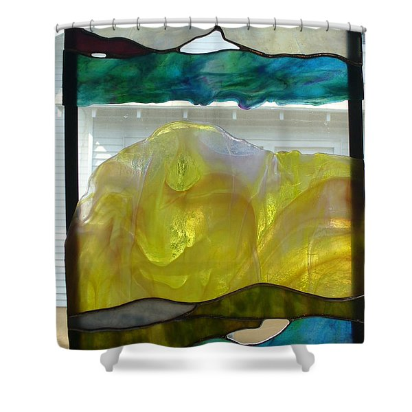 Shower Curtain featuring the glass art Freeform Glass by Karin Thue
