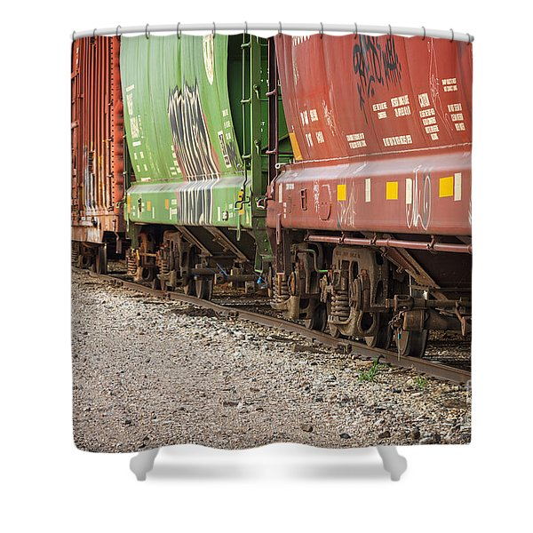 Shower Curtain featuring the photograph Freight Train Cars On Tracks by Bryan Mullennix