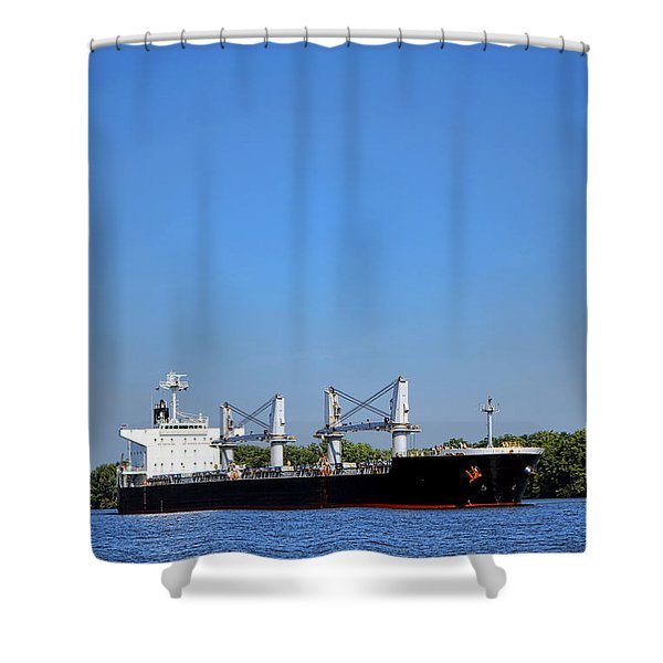 Freighter On River Shower Curtain