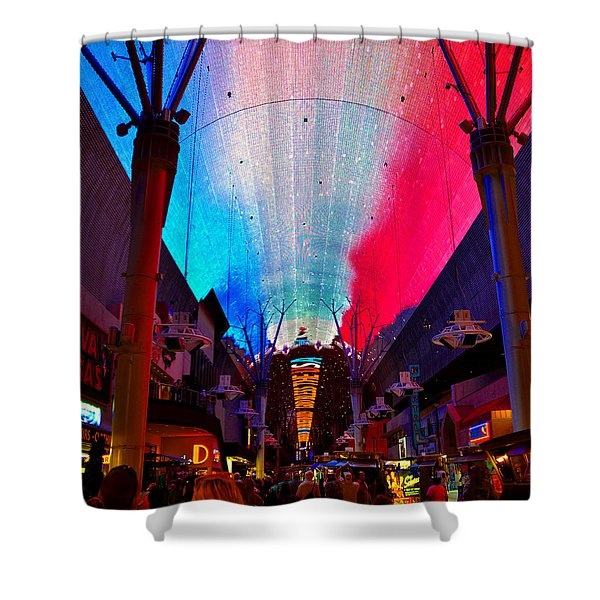 Fremont Street Flyover Shower Curtain