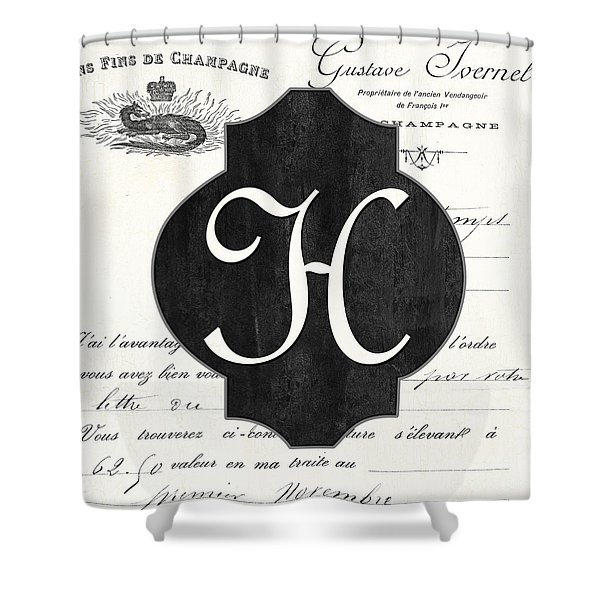 French Champagne Monogram Shower Curtain