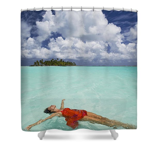 French Polynesia Woman Floating Shower Curtain