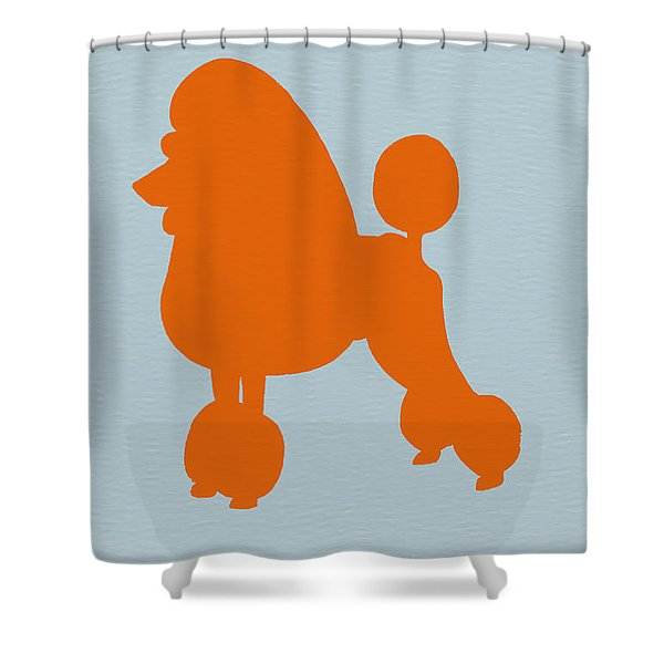 French Poodle Orange Shower Curtain