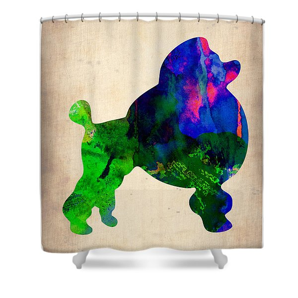 French Poodle Watercolor Shower Curtain