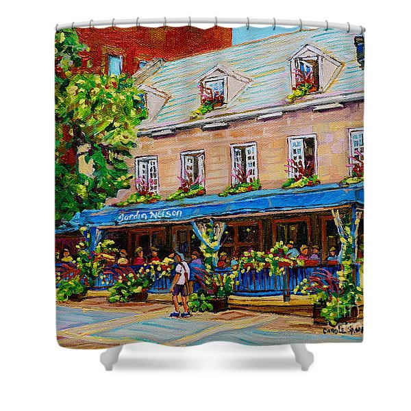 French Restaurant Jardin Nelson Paris Style Bistro Place Jacques Cartier Terrace Garden C Spandau   Shower Curtain