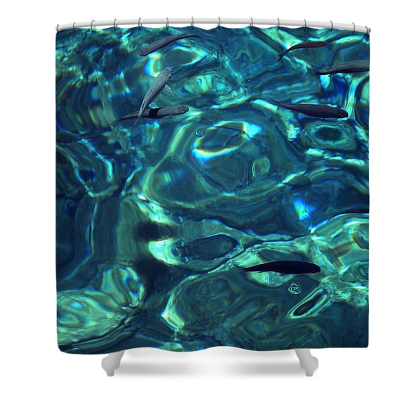 Fresh Clean Santorini Ocean  Water Shower Curtain
