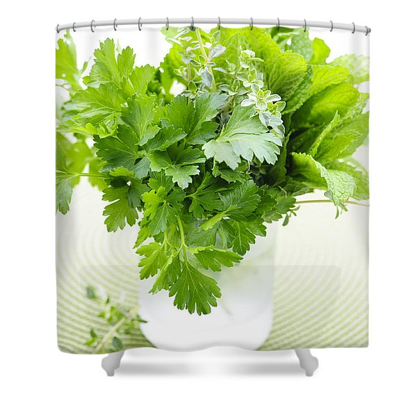 Fresh Herbs In A Glass Shower Curtain