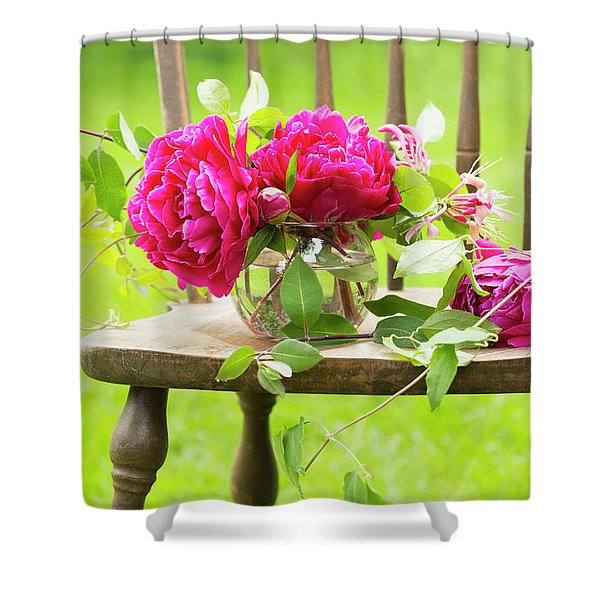 Fresh Pink Peonies Picked And Lying Shower Curtain