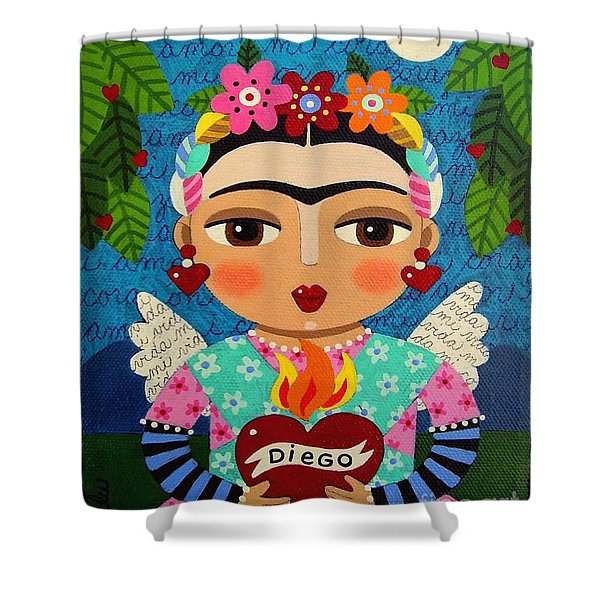 Frida Kahlo Angel And Flaming Heart Shower Curtain