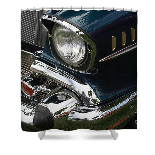 Shower Curtain featuring the photograph Front Side Of A Classic Car by Gunter Nezhoda