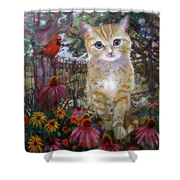 Front Yard Kitty Shower Curtain