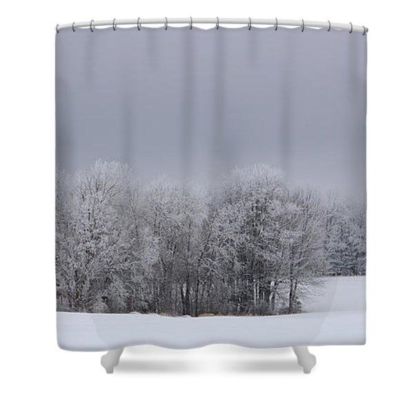 Frosty Farm Fields Shower Curtain