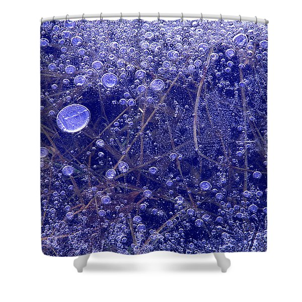 Frozen Bubbles In The Merced River Yosemite Natioinal Park Shower Curtain