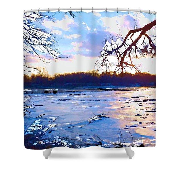Frozen Delaware River Sunset Shower Curtain