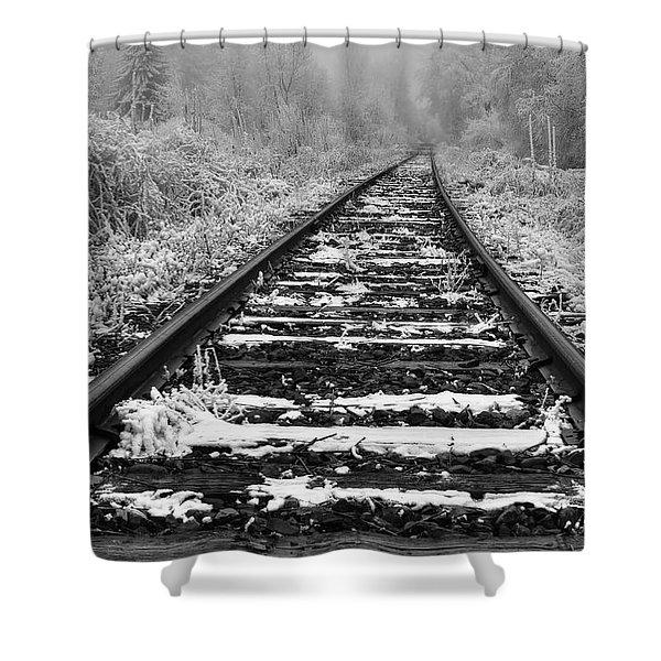 Frozen Illusion - Train Tracks Vanish  Into Frozen Fog Shower Curtain