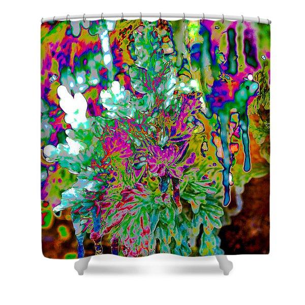 Shower Curtain featuring the digital art Frozen Juniper by Mae Wertz