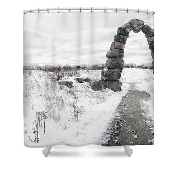 Frozen Stone Arch Shower Curtain
