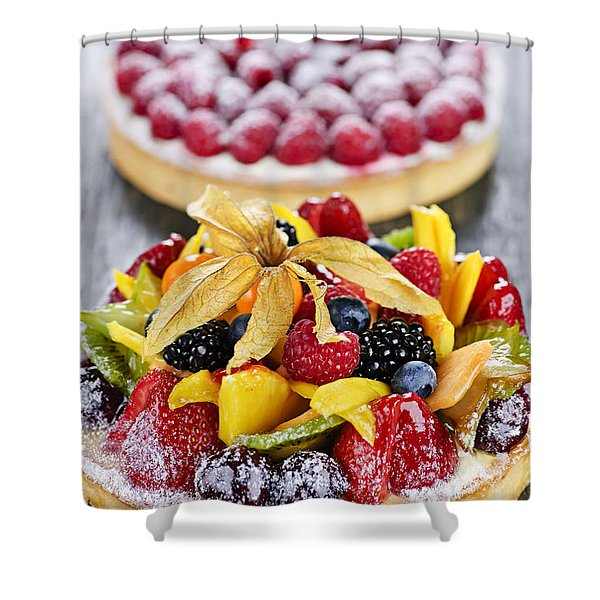Fruit And Berry Tarts Shower Curtain