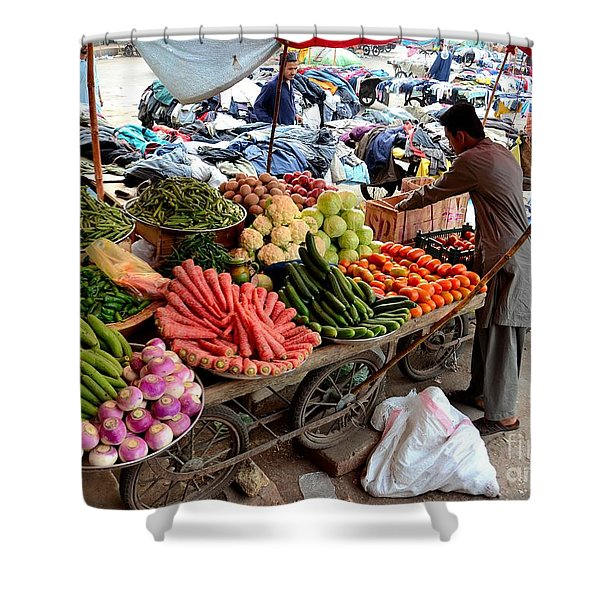 Fruit And Vegetable Seller Tends To His Cart Outside Empress Market Karachi Pakistan Shower Curtain