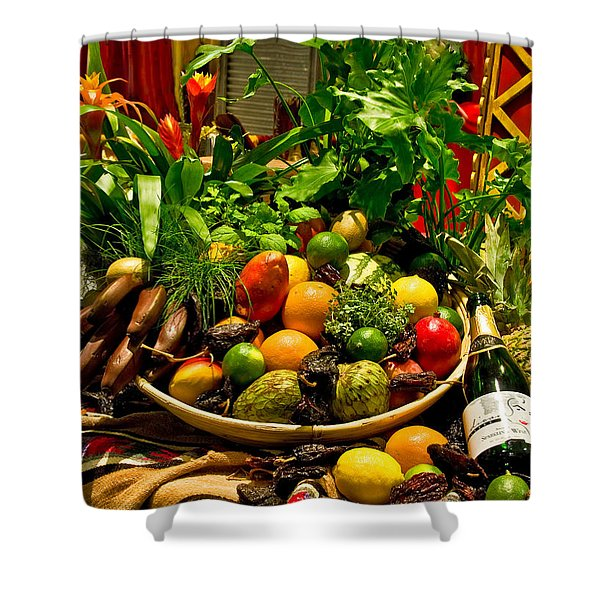 Shower Curtain featuring the photograph Fruit And Wine by Mae Wertz