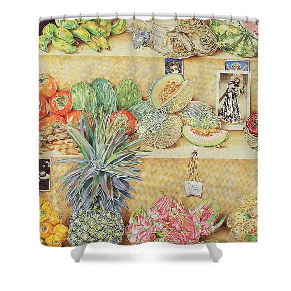 Fruit-stall, La Laguinilla, 1998 Oil On Canvas Detail Of 240164 Shower Curtain
