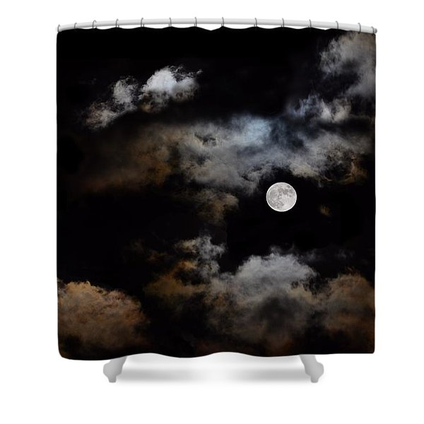 Full Moon After The Storm Shower Curtain