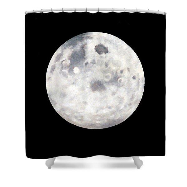Full Moon In Black Night Shower Curtain