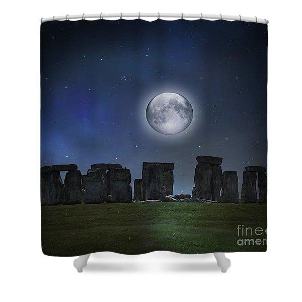 Full Moon Over Stonehenge Shower Curtain